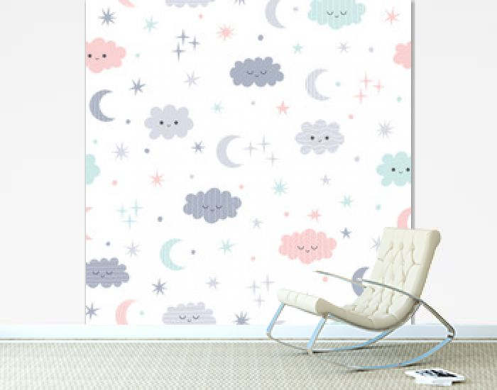 Cute seamless pattern for kids. Lovely children background with moon, stars and clouds