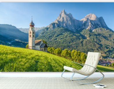 Alpine scenery with church in the Dolomites, Seis am Schlern, South Tyrol, Italy