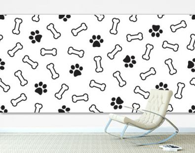 Dog Bone vector dog paw doodle Seamless pattern isolated wallpaper background