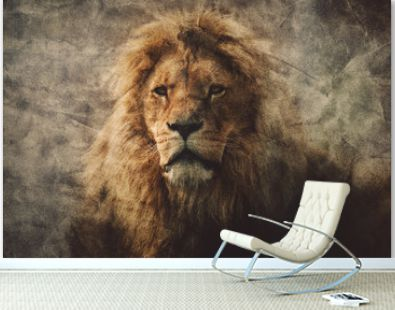 Majestic lion in a vintage portrait.