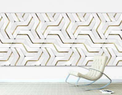 3D Wallpapers white tiles with golden metal decor. Modern geometric modules. High quality seamless realistic texture. M-size.
