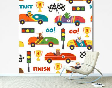 seamless pattern with race cars and animals - vector illustration, eps