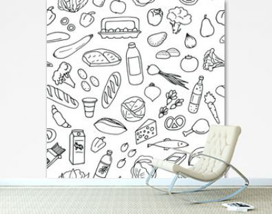 Pattern from set of hand drawn food sketches. Vector illustration.