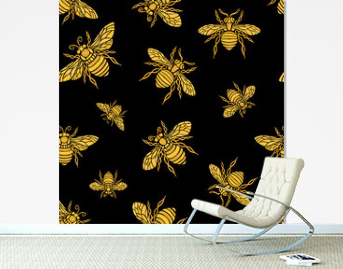 Hohey bee golden embroidery seamless pattern textile fabrics ornamented golden wings insect Hand drawn vector honey bee luxury embroidered style