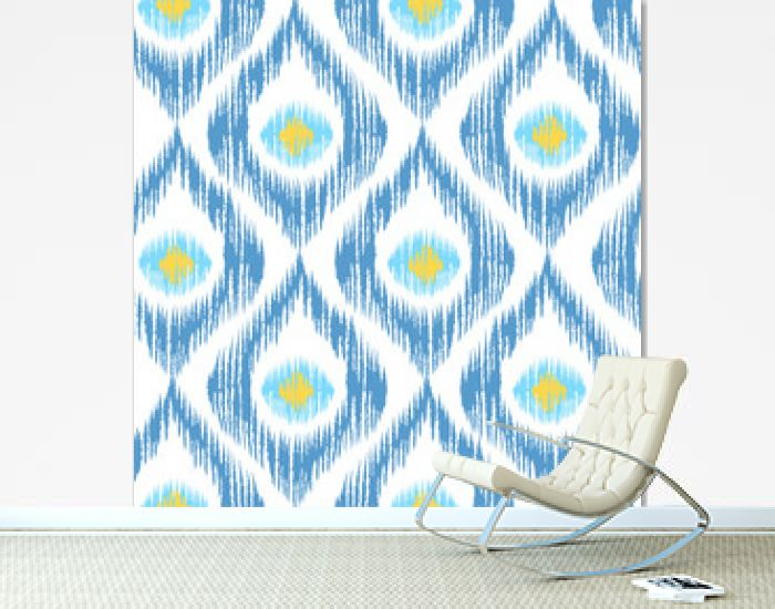 Retro ikat blue pattern.