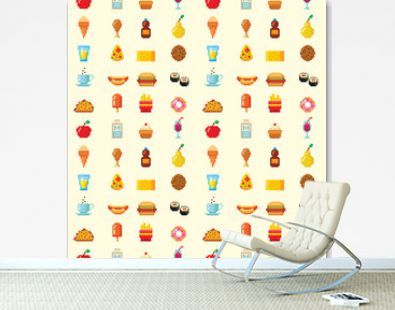 Pixel art food computer design seamless pattern background vector illustration restaurant pixelated element fast food retro game web graphic.