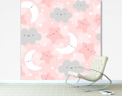 Cloud, Moon and Stars Cute Seamless Pattern, Cartoon Vector Illustration Background