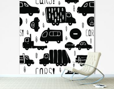 Vector seamless pattern with black silhouette of cars and trucks on a white background