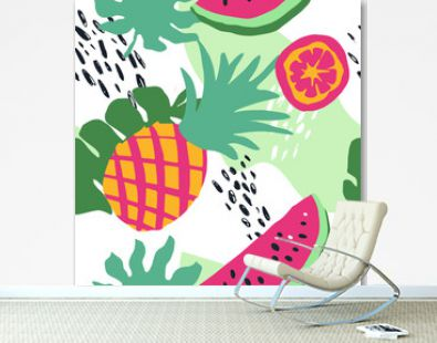Minimal summer trendy vector tile seamless pattern in scandinavian style. Watermelon, pineapple, orange slice, palm leafs, abstract elements. Textile fabric swimwear graphic design for pring.