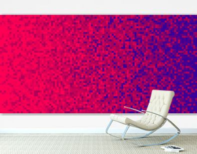Red Scarlet Violet Pixilated Gradient Background. Mosaic Pixel Art Texture. Horizontal Pixel Gradient Backdrop.