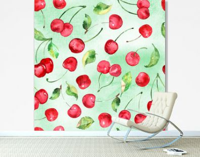 Watercolor Cherries fruit seamless pattern on watercolor green background