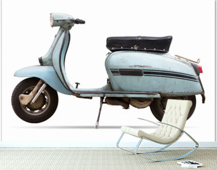 old motor cycle scooter on white background clipping path
