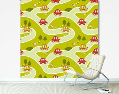 Seamless pattern with cartoon cars, roads and traffic signs