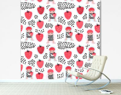Childish Seamless Pattern with Cute Girls and Strawberries. Creative Kids Background for Fabric, Textile, Wallpaper, Wrapping Paper. Vector illustration