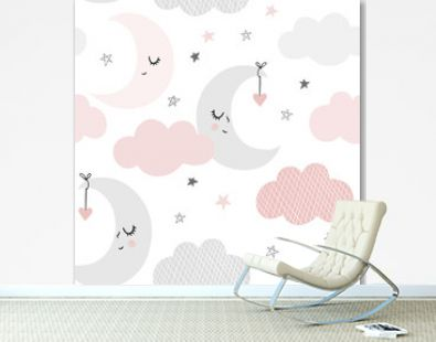 Cute sky pattern. Seamless vector design with smiling, sleeping moon, hearts, stars and clouds. Baby illustration.
