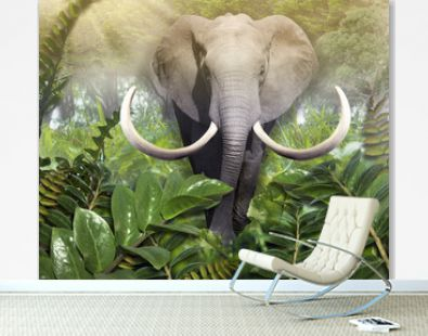 Elephant comes out of the jungle. Photo wallpaper for the walls. 3D Rendering.