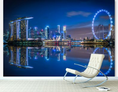 Singapore Skyline and view of skyscrapers on Marina Bay at twilight time.