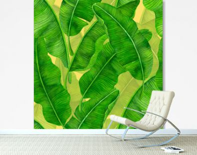 Seamless watercolor pattern with banana leaves.