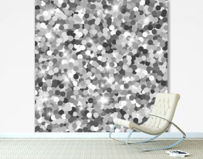 Glitter seamless texture. Actual silver particles. Endless pattern made of sparkling circles. Gracef
