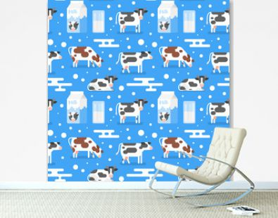 seamless pattern with gazing cow
