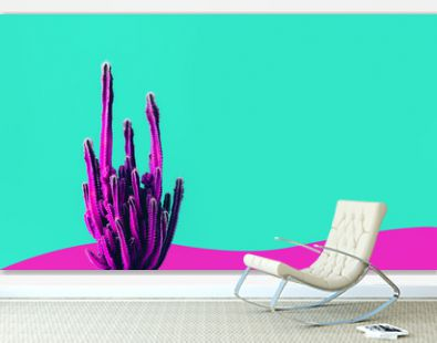 Exotic color of cactus on colorful background