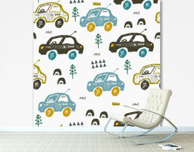 Pattern with cars. Hand drawn autos on the road. Scandinavian style design. Decorative abstract art.