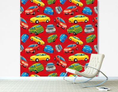 Seamless pattern with cheerful cars on a red background.