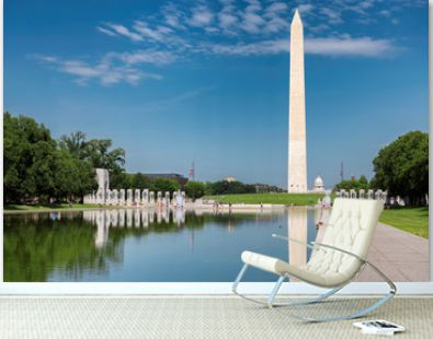 Washington Monument at sunny day from new reflecting pool by Lincoln Memorial,  Washington DC, USA.