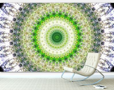A bright white and green mandala with round-shaped patterns.