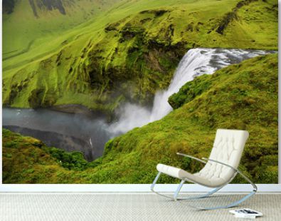 A waterfall in a beautiful Iceland landscape. Top view.