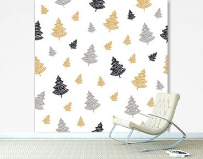 christmas tree seamless pattern scribble drawing isolated background