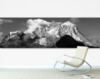 panoramic view of mount Everest and Lhotse