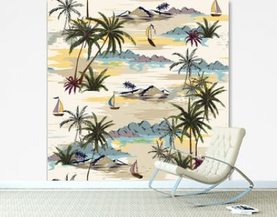 Vintage Beautiful seamless island pattern on white background. Landscape with palm trees,beach and ocean vector hand drawn style