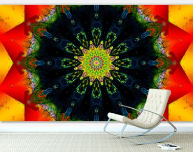 Colorful mandala Art with red and yellow shapes and geometric patterns.