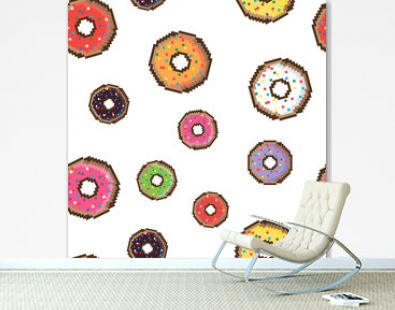 Pixel style delicious donut seamless pattern. Donuts in old school style. Vintage food.