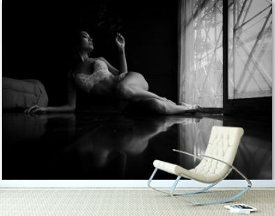 black and white portrait woman smoking in balcony room
