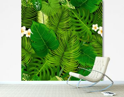 Tropical exotic plants, flowers seamless pattern