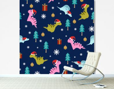 Holiday seamless pattern for christmas with dinosaur drawing