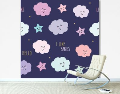 Cute seamless pattern background with cartoon kawaii stars and clouds. For kids clothes, pajamas, baby shower design.