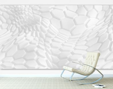 White geometric honeycomb hexagon background. 3d illustration, 3d rendering.