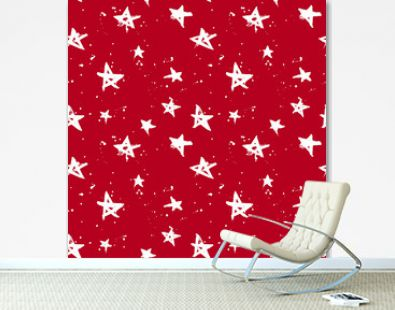 Red and white hand drawn stars and drops seamless pattern. Christmas and New year wrapping