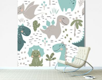 Dinosaur baby boy seamless pattern. Sweet dino with palm and cactus