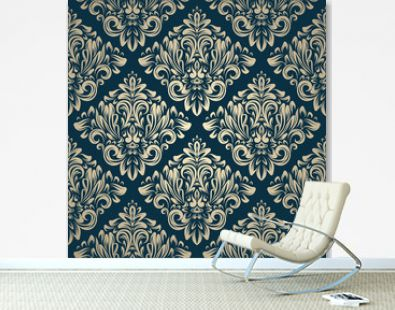 Damask vintage seamless pattern on navy background
