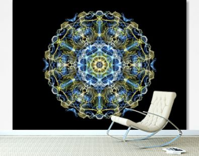 Blue and yellow abstract flame mandala snowflake, ornamental round pattern on black background. Yoga theme.