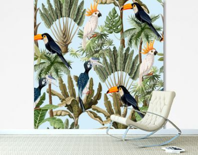 Seamless pattern with exotic trees and wild bird, parrots and toucans. Interior vintage wallpaper.