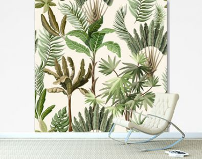 Seamless pattern with exotic trees such us palm and banana. Interior vintage wallpaper.