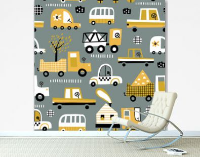 Baby seamless pattern with hand drawn cute car. Perfect for kids fabric, textile, nursery wallpaper. Vector seamless pattern with doodle toy cars.