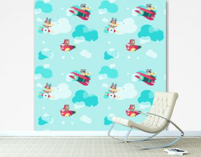 Vector seamless pattern with cute pilot animals