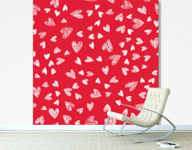 Holiday doodle Lovely Valentines Day background seamless pattern with cute hand drawn white hearts on red background. Vector illustration.