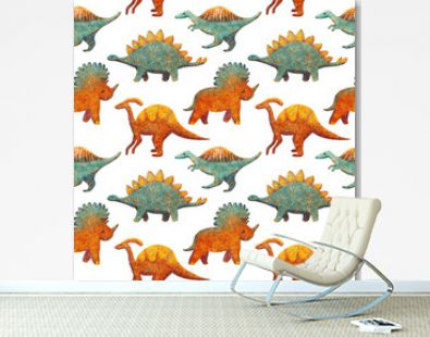 Seamless Pattern with Cute various Dinosaurs blue and orange